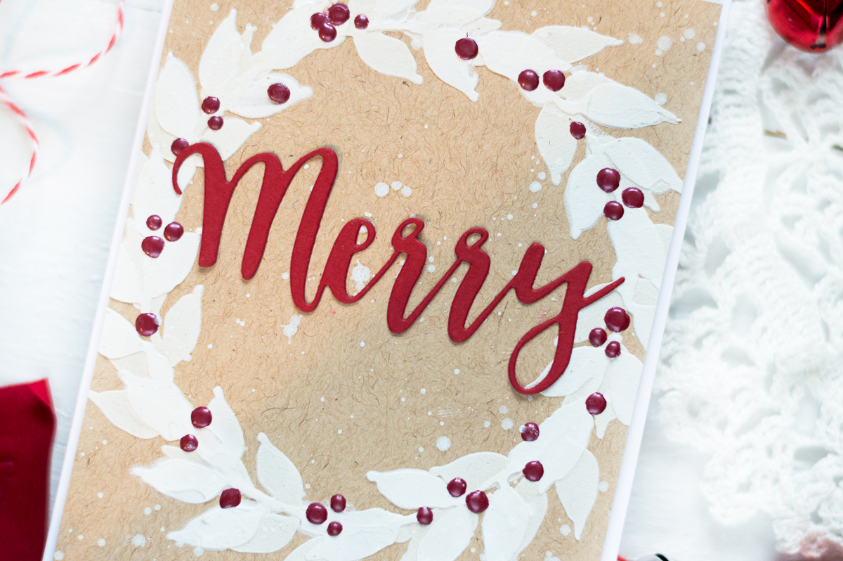 Kraft, white, red Chrsitmas wreath card. Card by Svitlana Shayevich