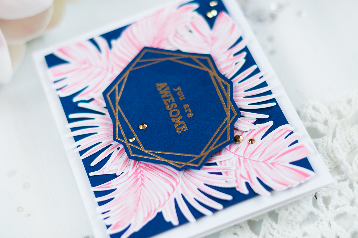 Pink and Navy Tropical Geometrical Frame Card. Card by Svitlana Shayevich