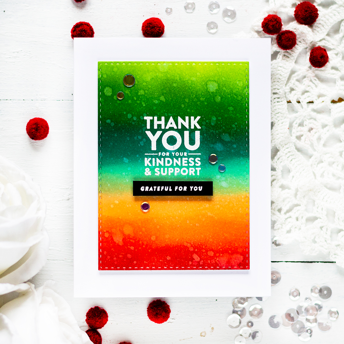 Simple Thank You card with bright distress ink blended background. Card by Svitlana Shayevich