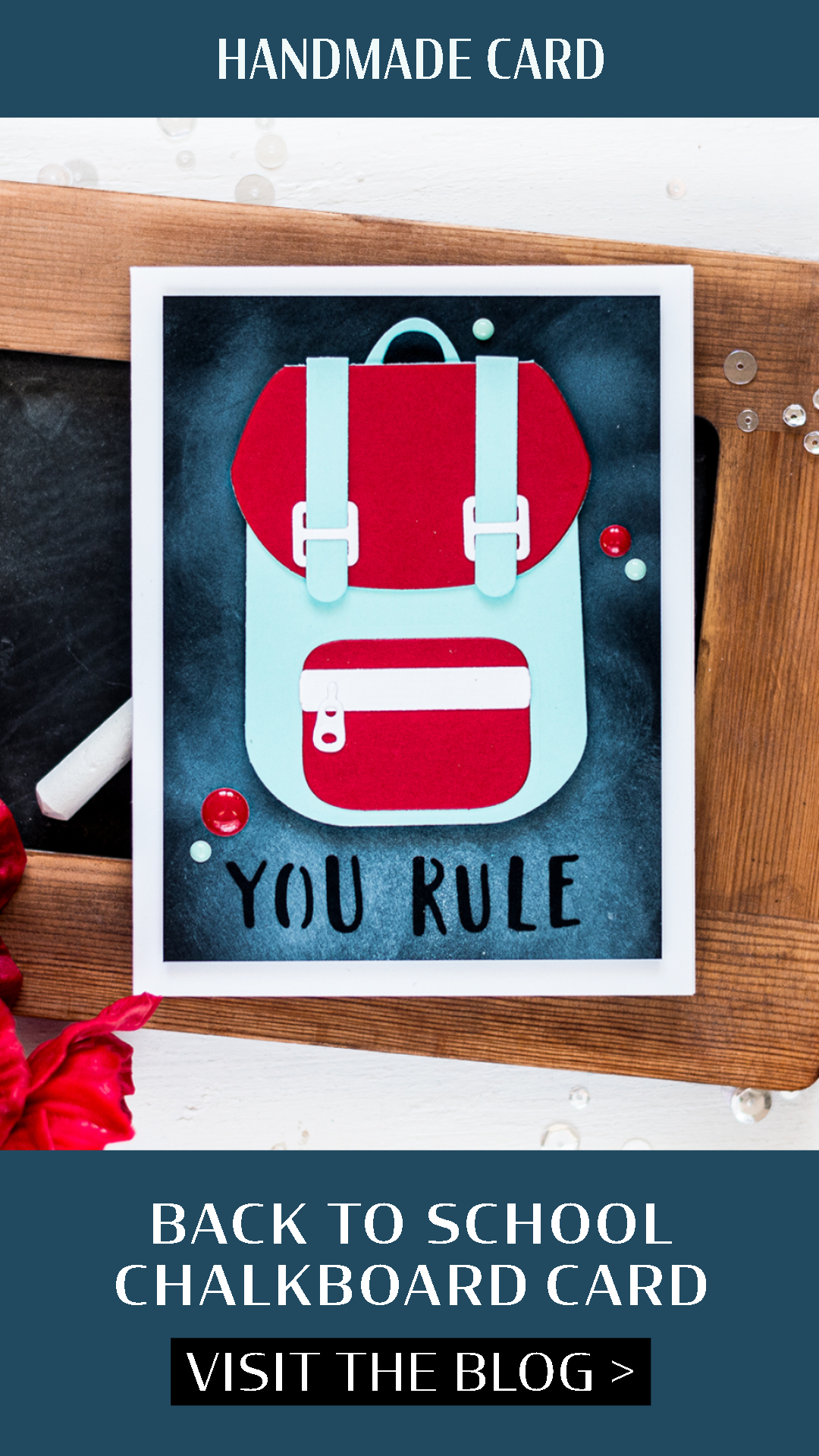 Back to School Backpack Chalkboard Card. Card by Svitlana Shayevich