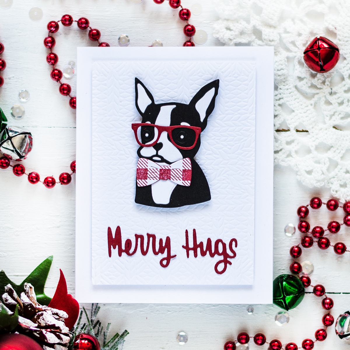 Christmas Bulldog Card. Card by Svitlana Shayevich
