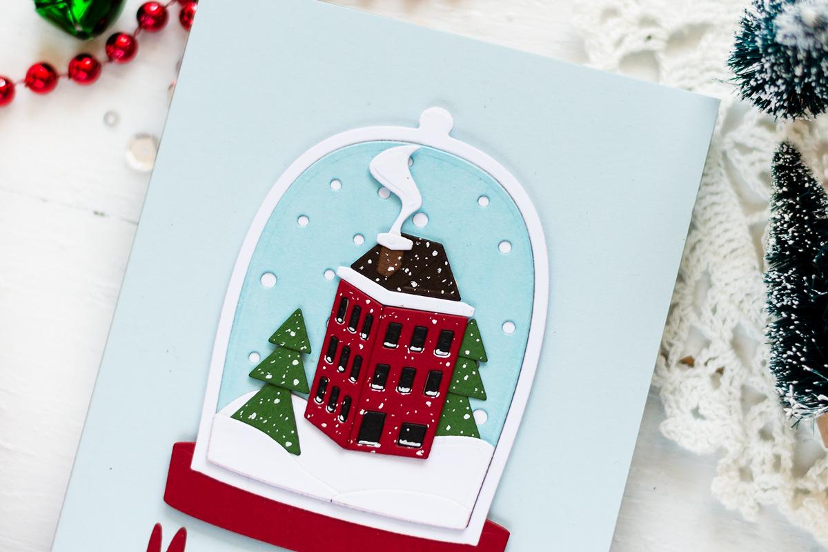 Christmas Snowball Scene Card. Card by Svitlana Shayevich