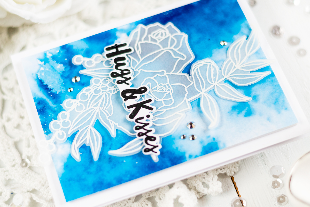 Quick and easy elegant card uisng embossing on vellum and watercolor background. Card by Svitlana Shayevich