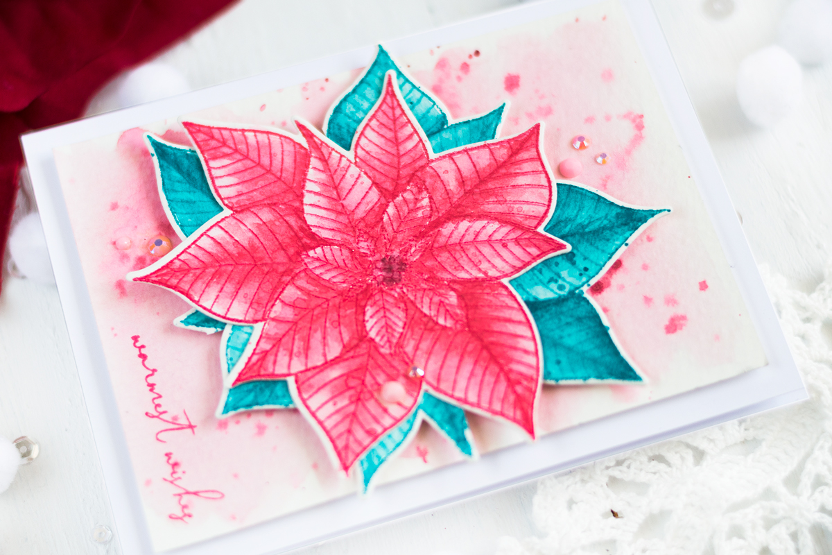 Watercolor Christmas Poinsettia Card. Card by Svitlana Shayevich
