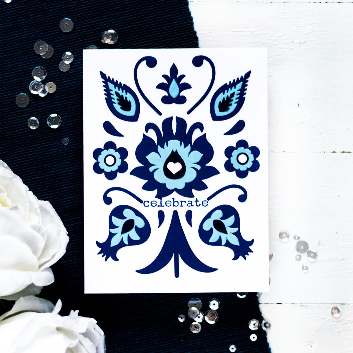 Monochromatic blue folk art card. Card by Svitlana Shayevich