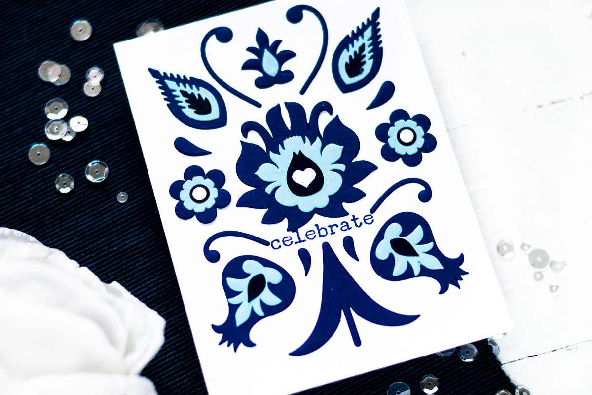 Monochromatic blue folk art card. Card by Svitlana Shayevich