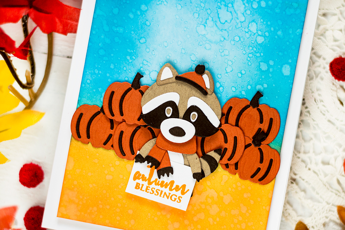 Raccoon Fall Card. Card by Svitlana Shayevich