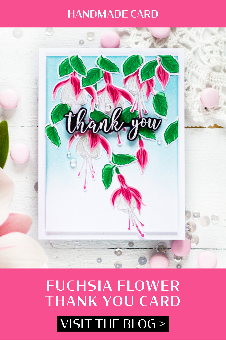 Fuchsia Flower Thank You Card. Card by Svitlana Shayevich