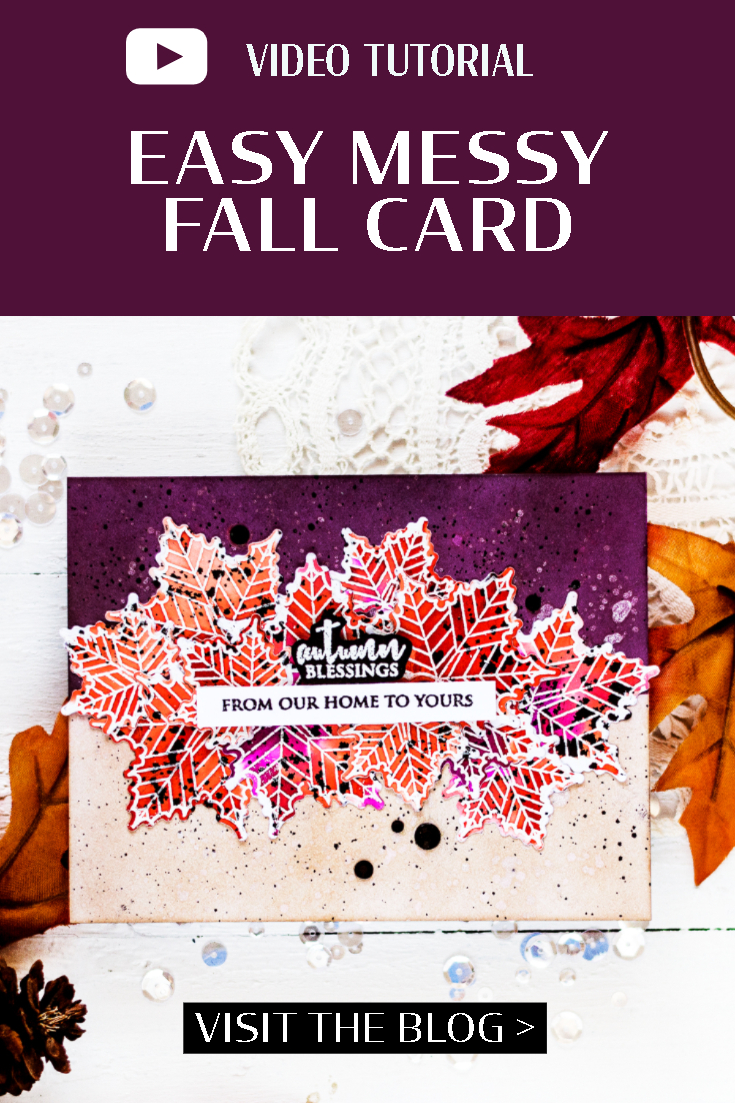 Easy messy fall card. Card by Svitlana Shayevich