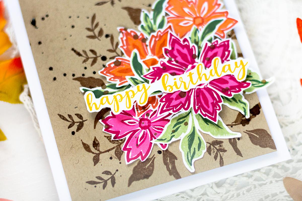 Fall floral birthday card. Card by Svitlana Shayevich