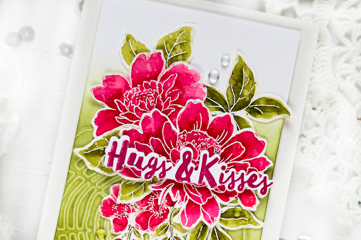 Watercolor Floral Hugs&Kisses Card. Card by Svitlana Shayevich