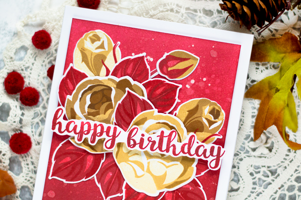 Fall Rose Bouquet Card. Card by Svitlana Shayevich