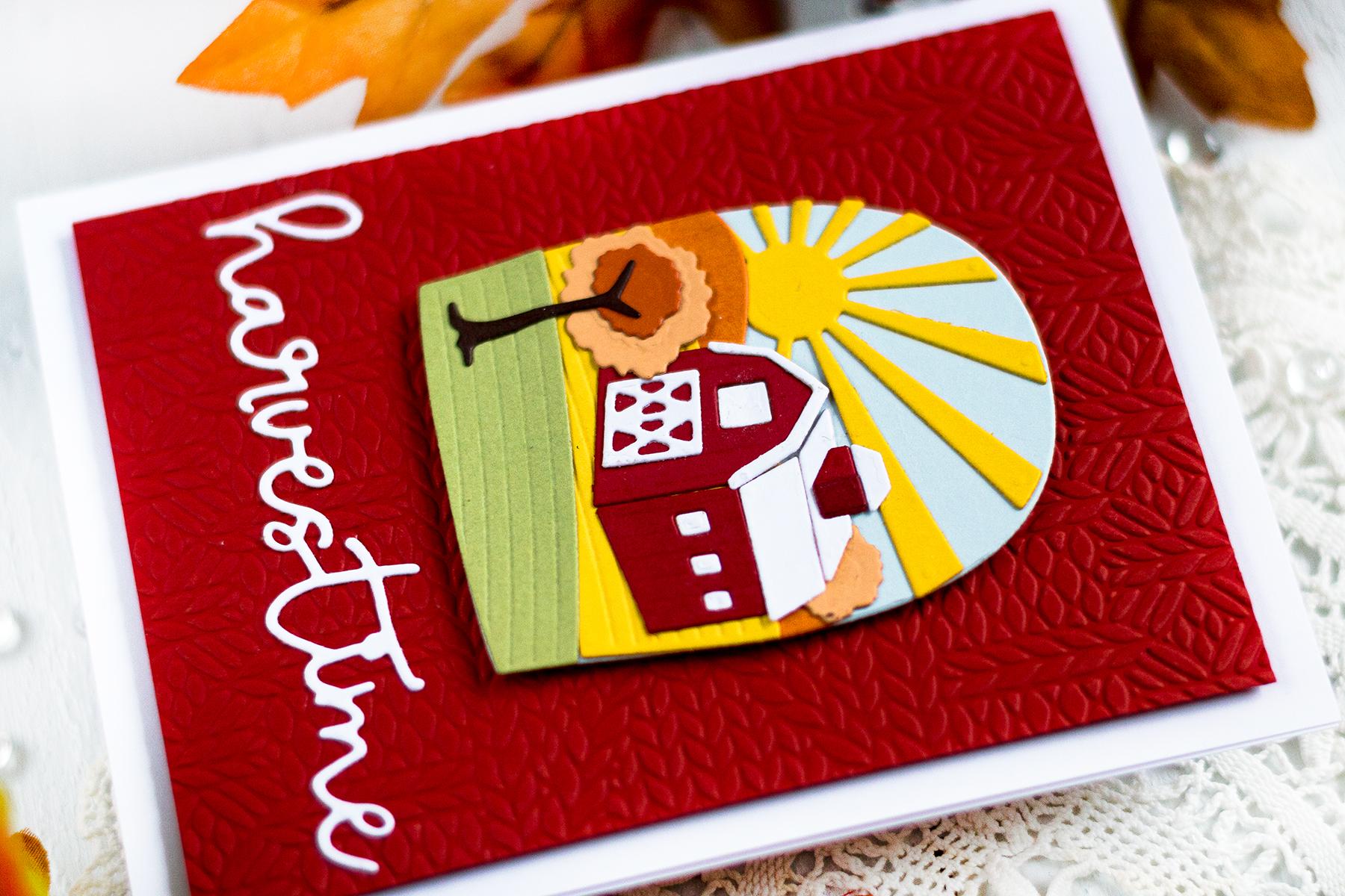 Harvest Scene Die Cut Card. Card by Svitlana Shayevich