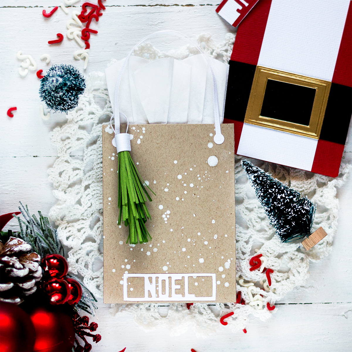 Kraft Bag Christmas Gift Card Holder. Card by Svitlana Shayevich