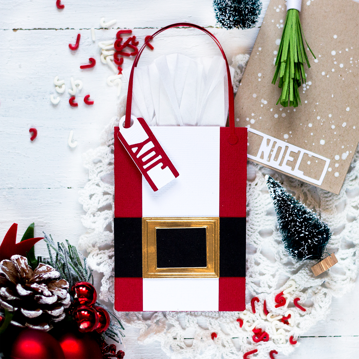 Santa's Suit Bag Christmas Gift Card Holder. Card by Svitlana Shayevich