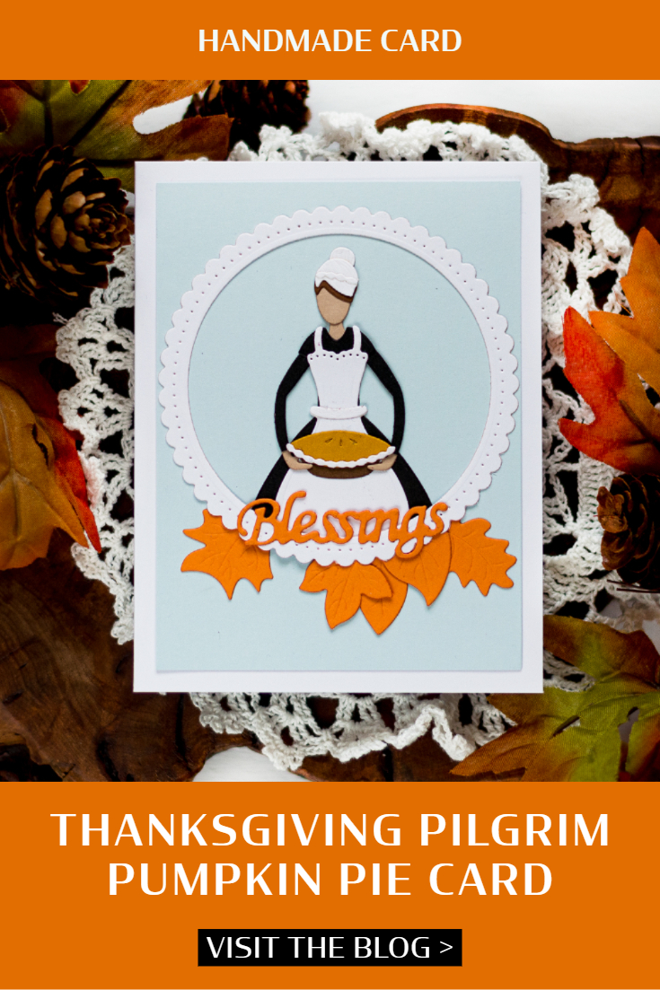 Thanksgiving Pilgrim Pumpkin Pie Card. Card by Svitlana Shayevich