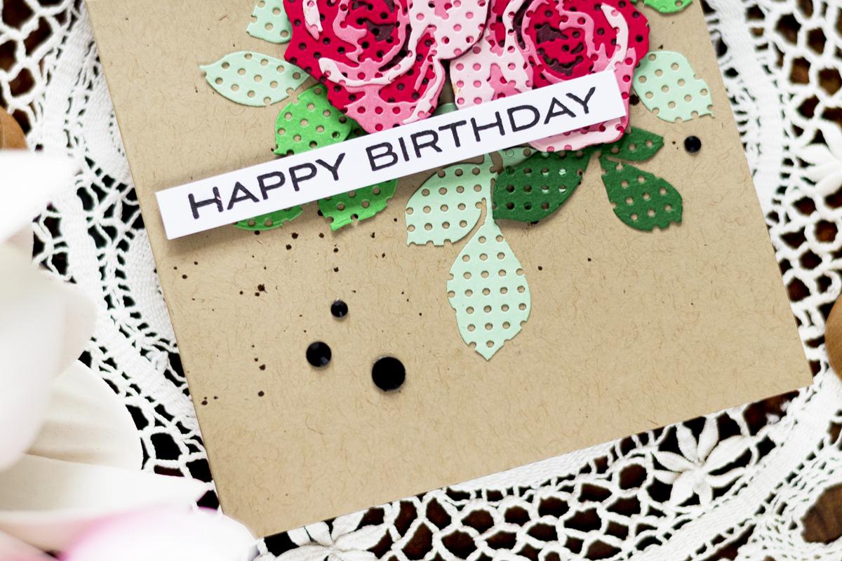 Pierced Roses Birthday Card. Card by Svitlana Shayevich