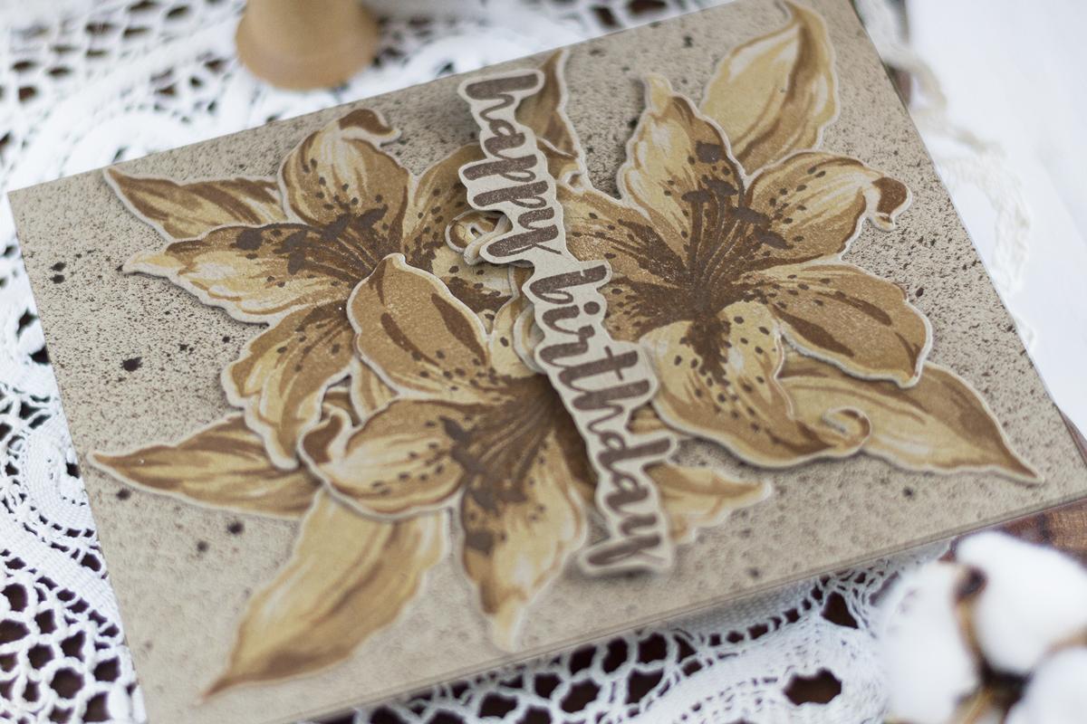 Monochromatic Stargazer Flower Card. Card by Svitlana Shayevich