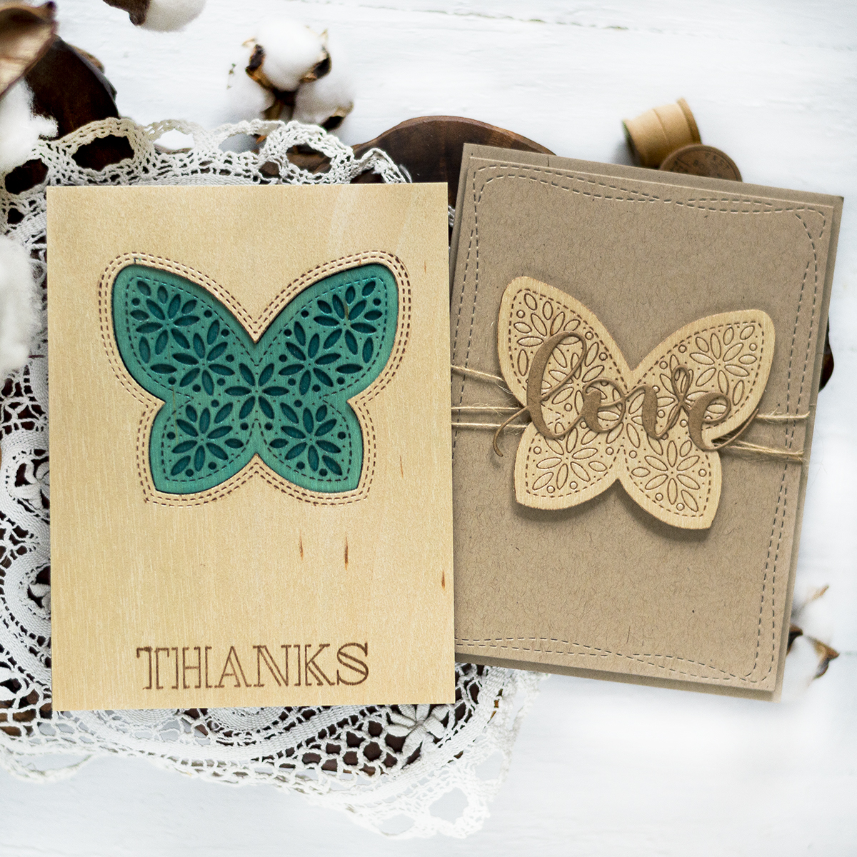 Wooden Butterfly Cards. Card by Svitlana Shayevich