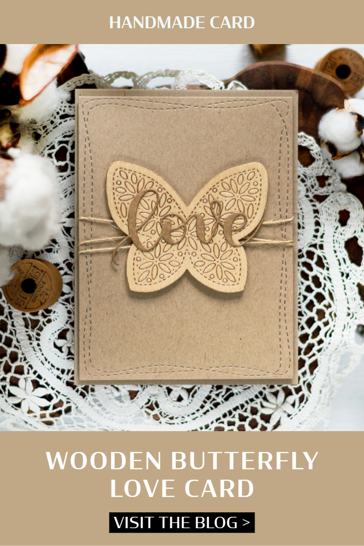 Wooden Butterfly Love Card. Card by Svitlana Shayevich