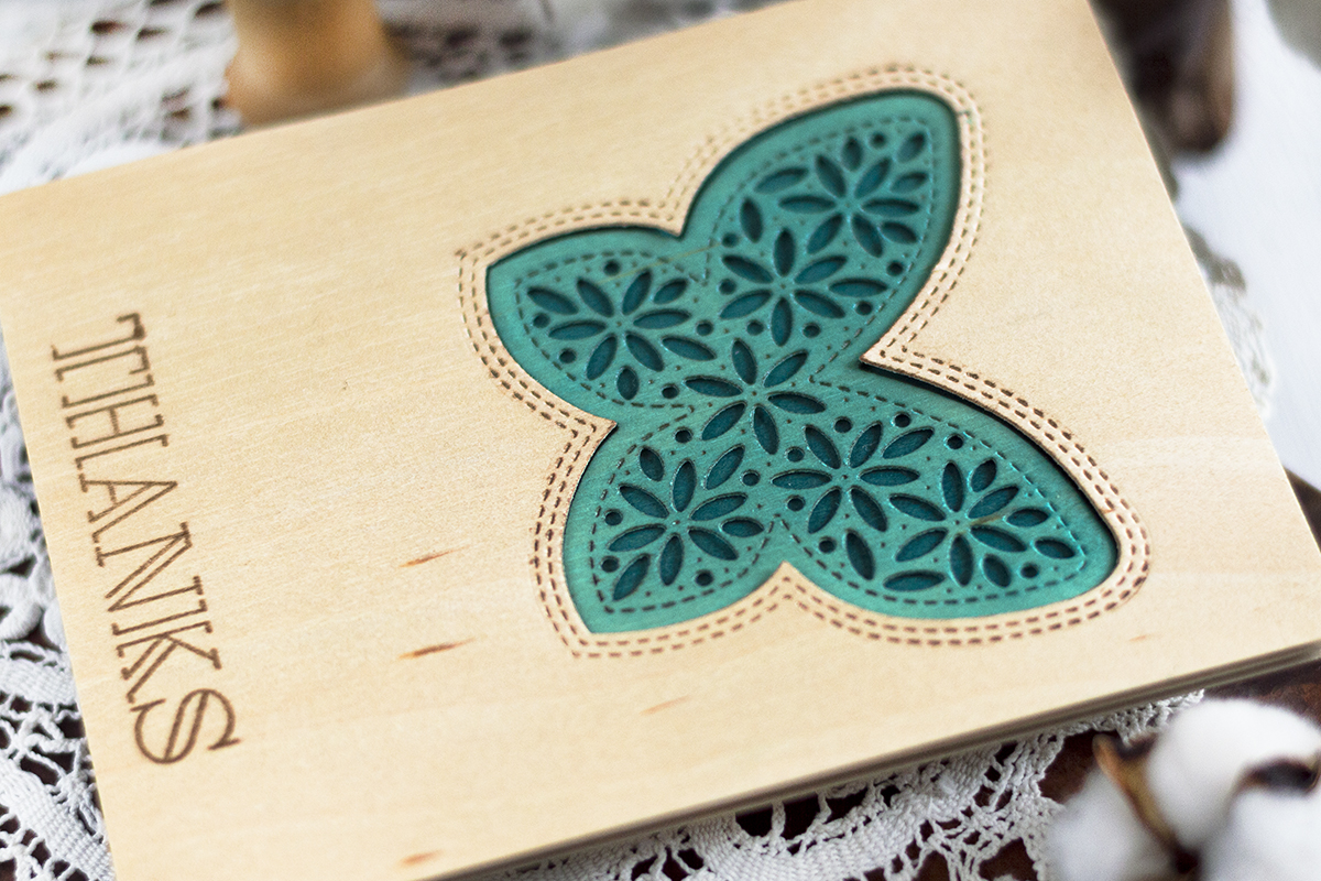 Wooden Butterfly Thanks Card. Card by Svitlana Shayevich