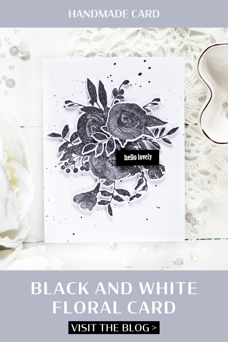 Black and White Floral Card. Card by Svitlana Shayevich