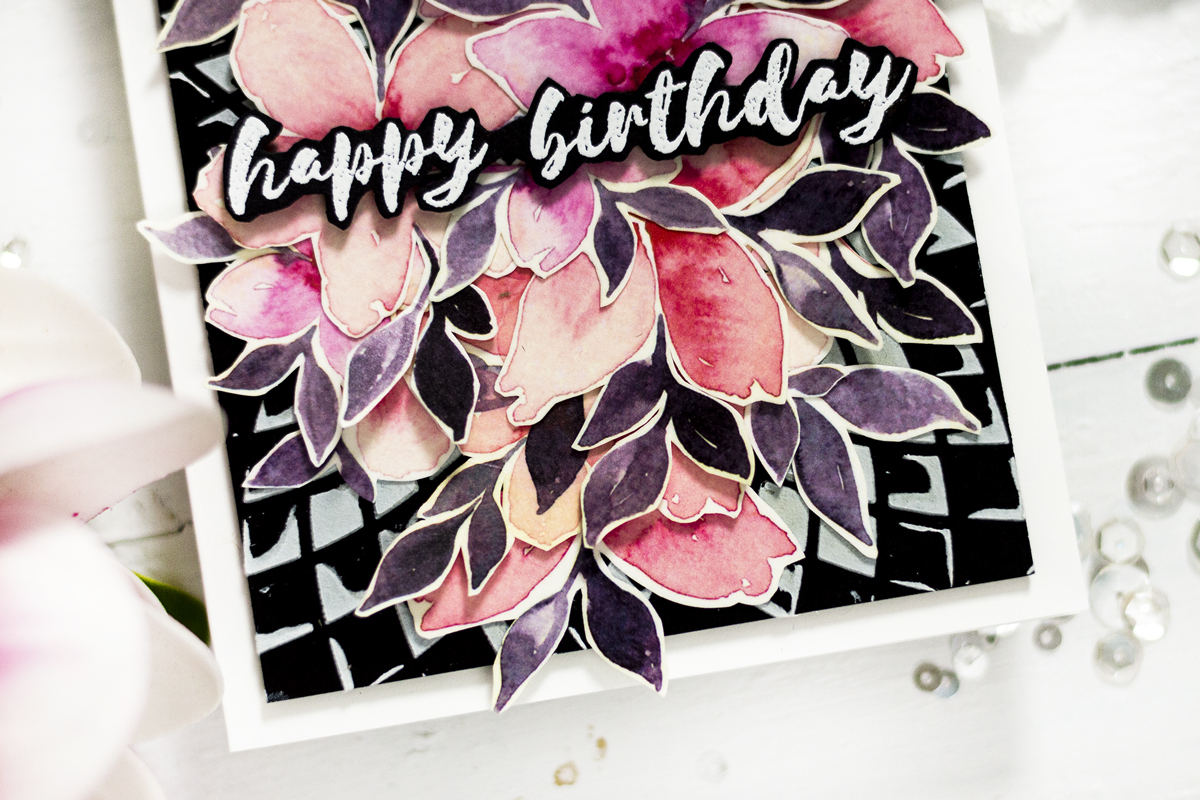 Dramatic Floral Washi Tape Card. Card by Svitlana Shayevich
