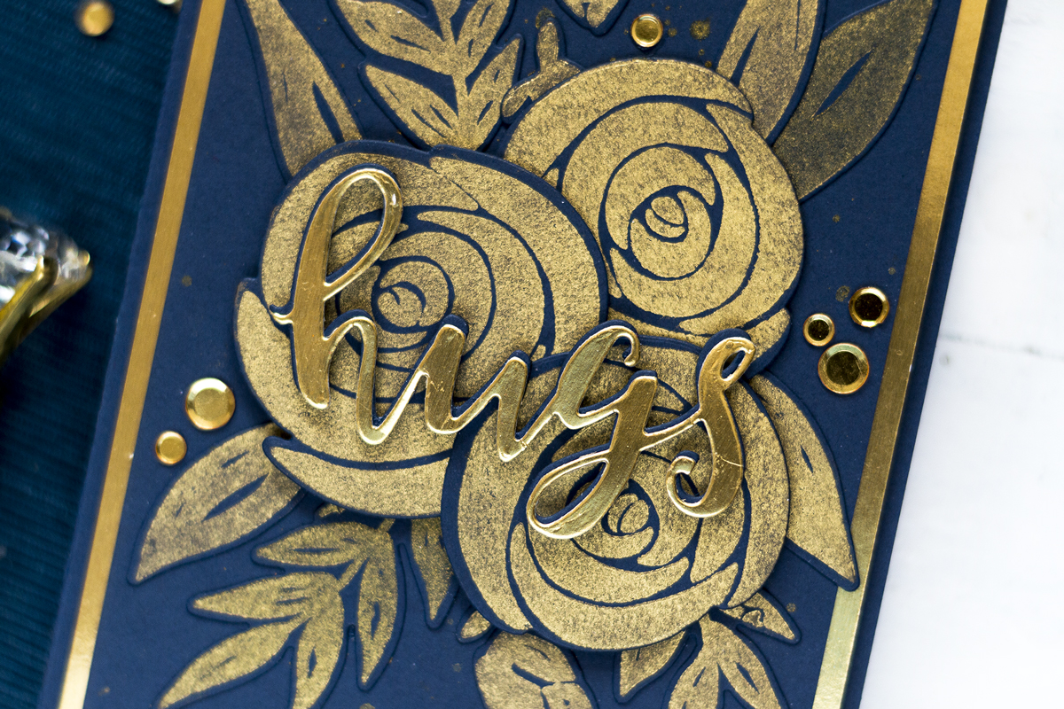 Dramatic Gold and Blue Floral Card. Card by Svitlana Shayevich