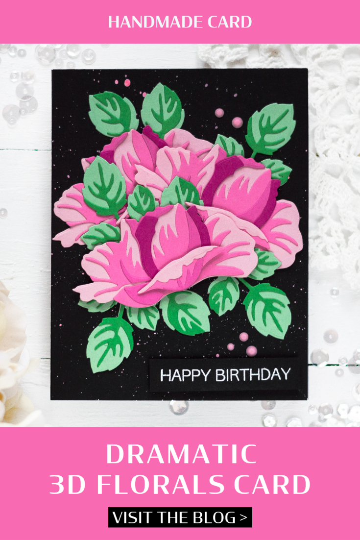 Dramatic 3D Florals Card. Card by Svitlana Shayevich