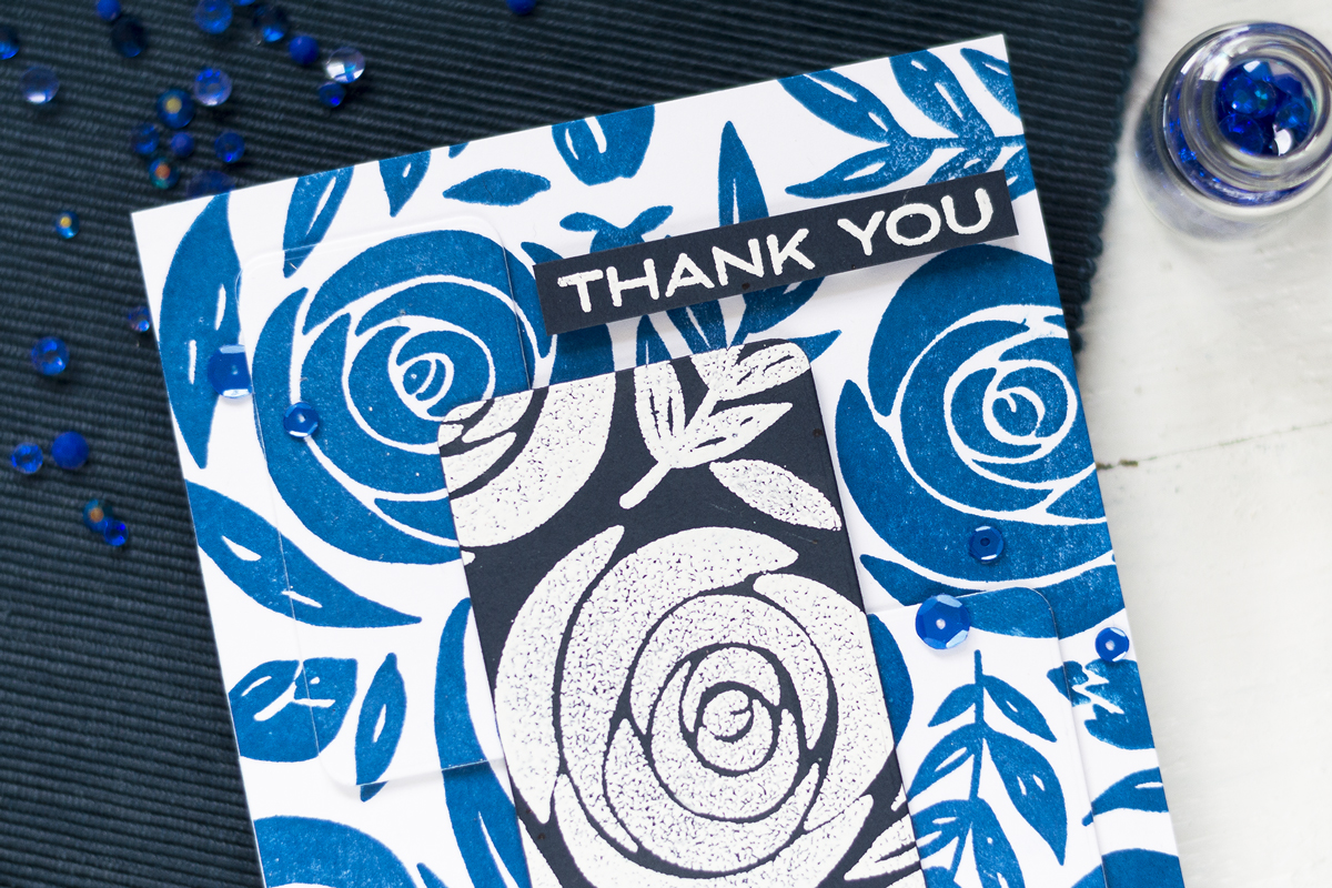 Monochromatic Floral Thank You Card. Card by Svitlana Shayevich