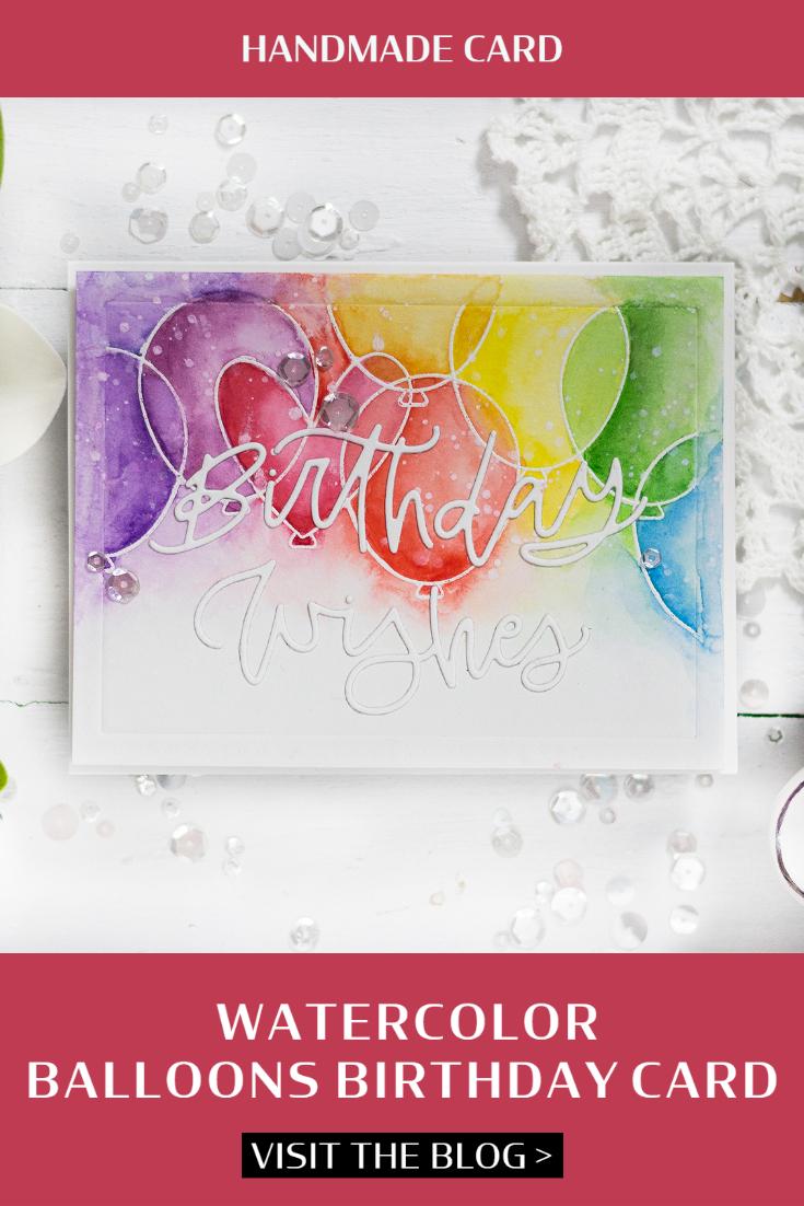 Watercolor Balloons Birthday Card. Card by Svitlana Shayevich