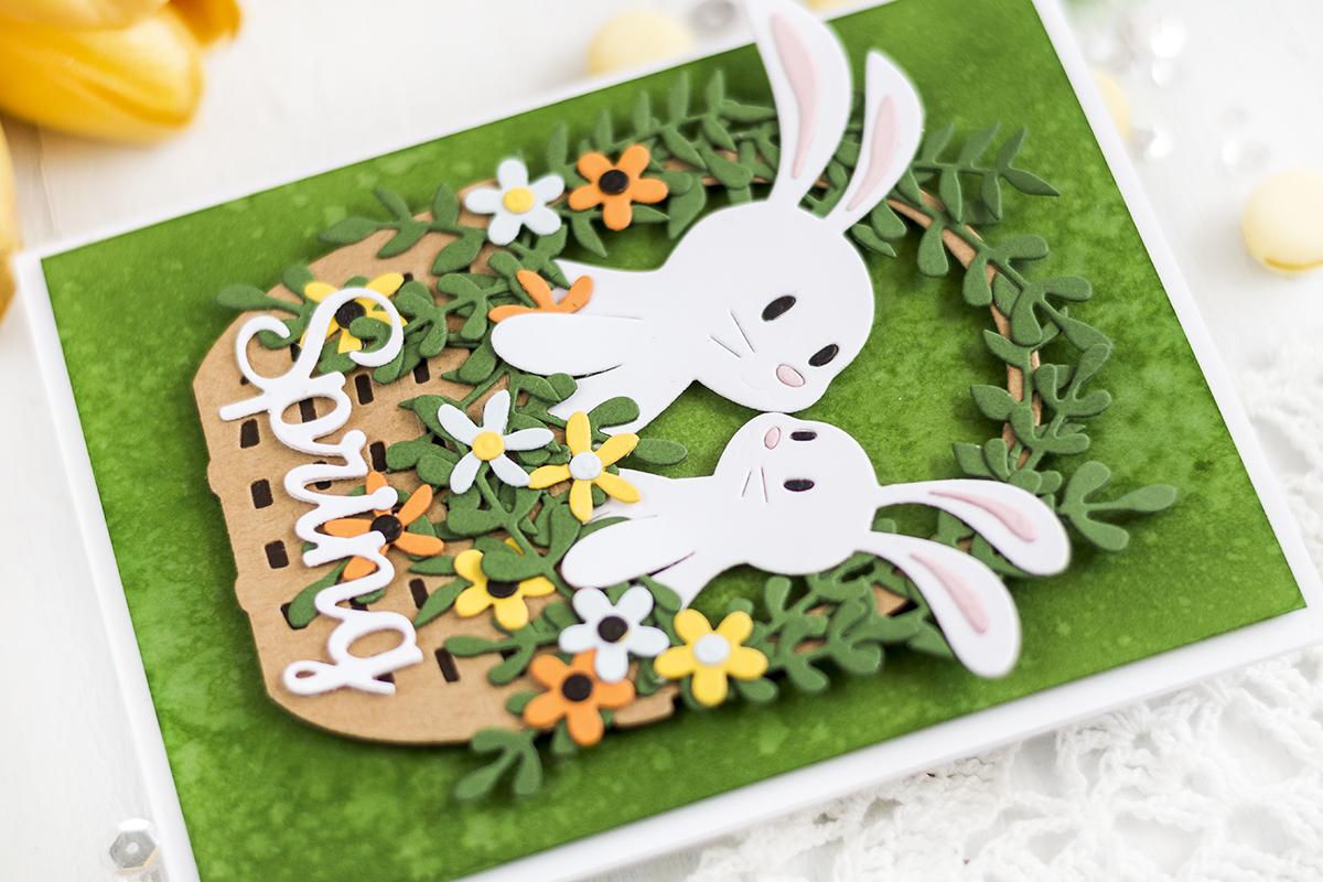 Spring Bunny Basket Card. Card by Svitlana Shayevich
