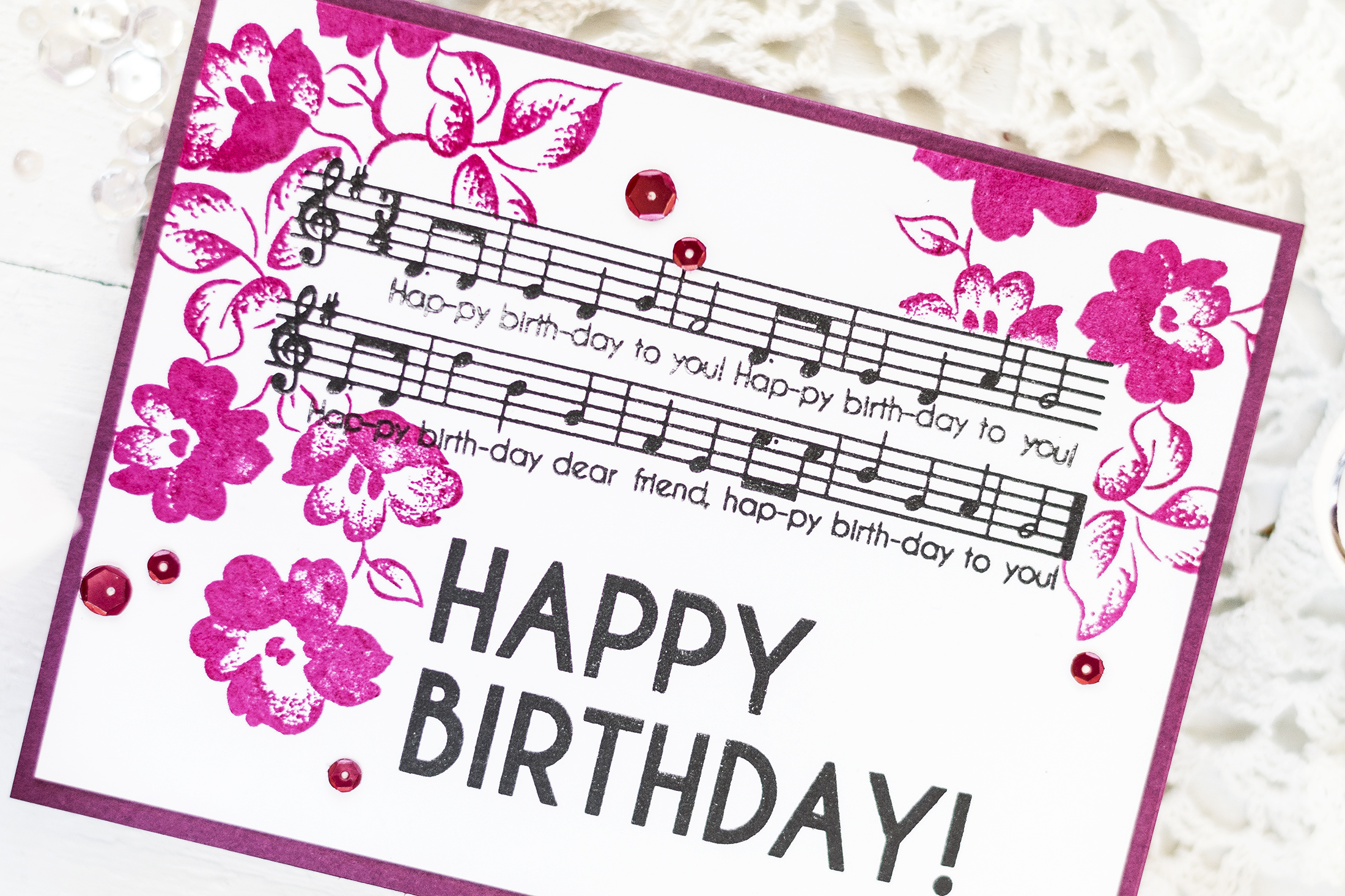 Floral Music Notes Birthday Card. Card by Svitlana Shayevich