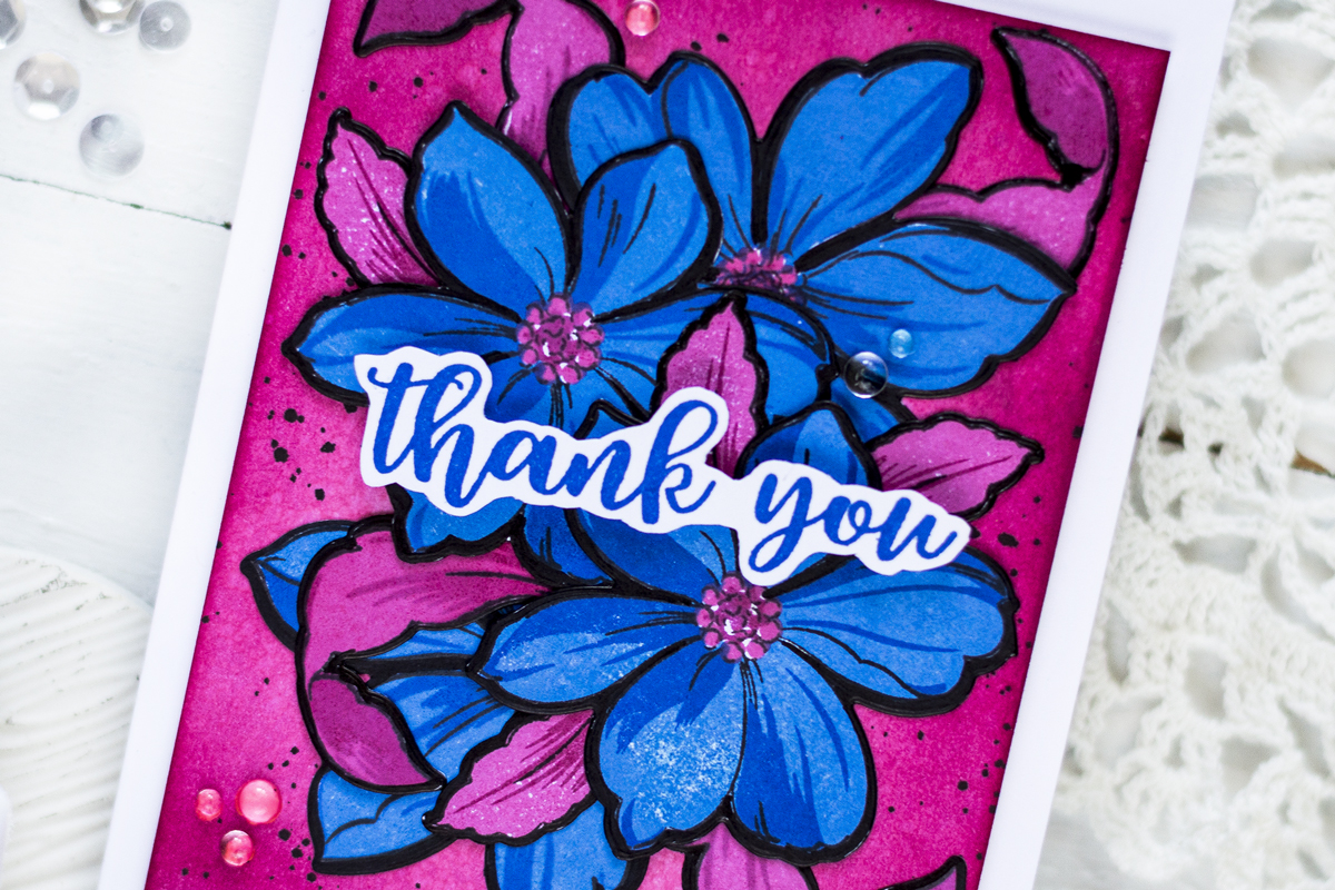 Bold Floral Thank You Card. Card by Svitlana Shayevich