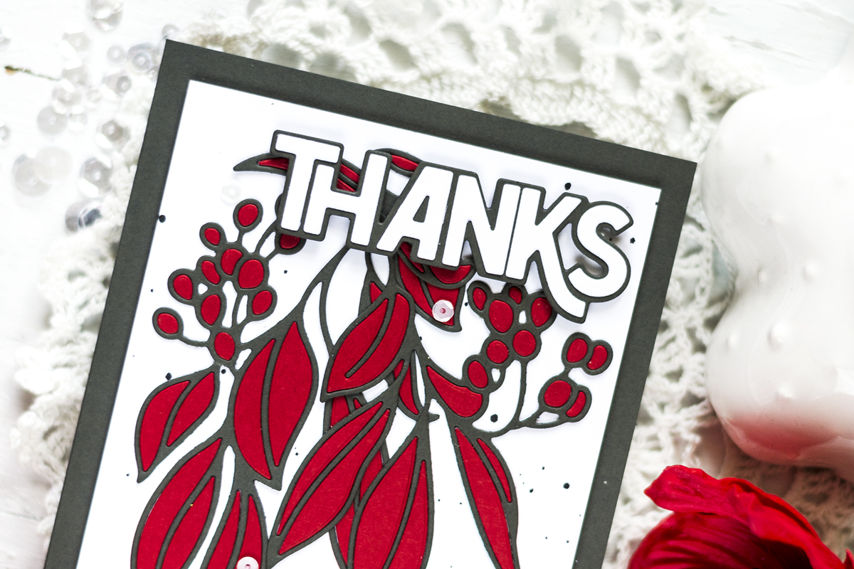 Hanging Leaves Thanks Card. Card by Svitlana Shayevich