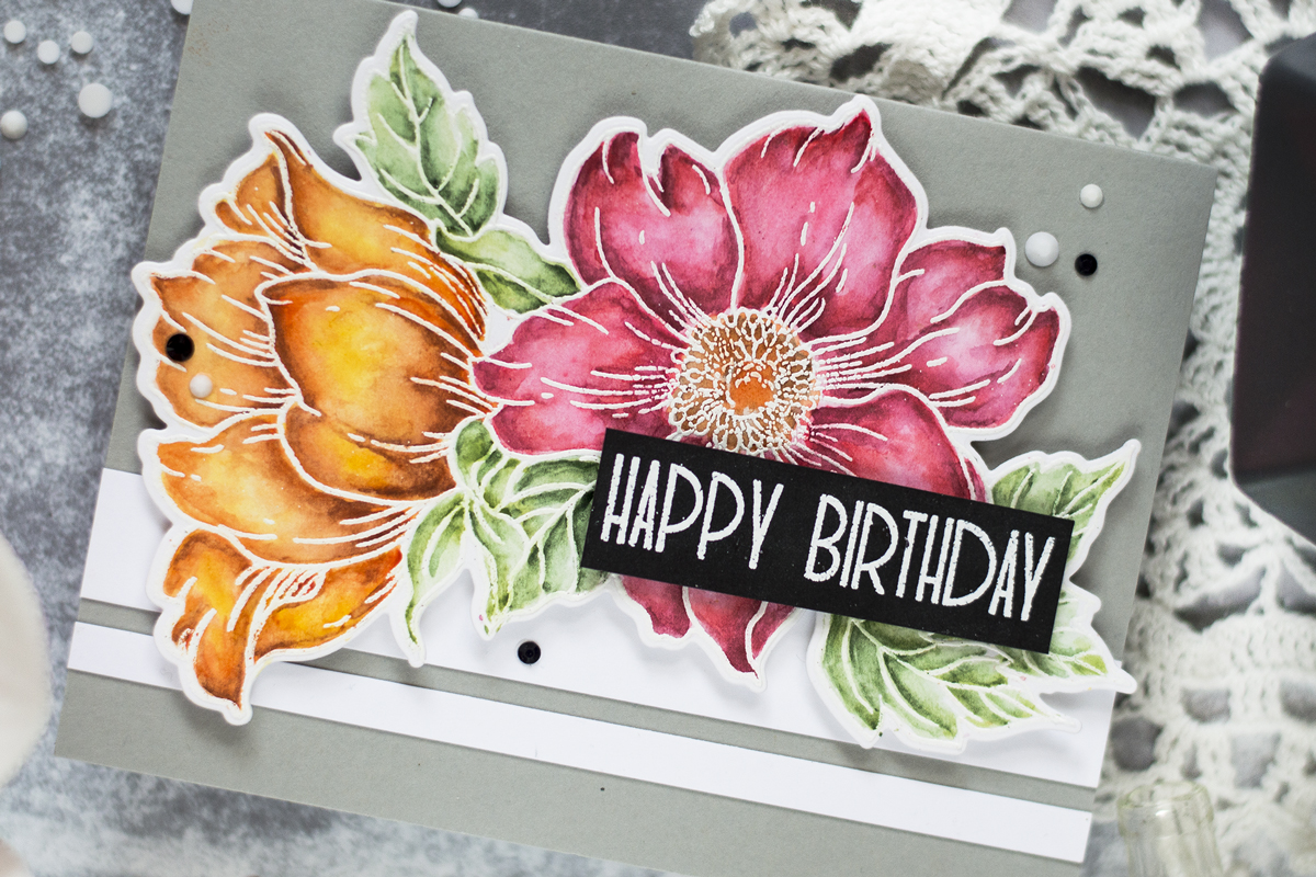 Watercolor Flower Birthday Card. Card by Svitlana Shayevich