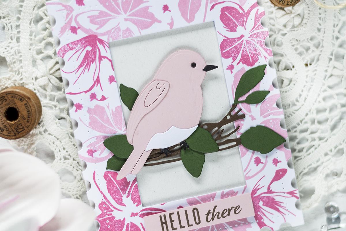 Postage Frame Bird Card. Card by Svitlana Shayevich