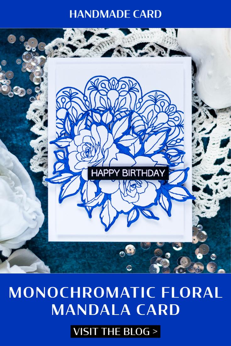 Monochromatic Floral Mandala Card. Card by Svitlana Shayevich
