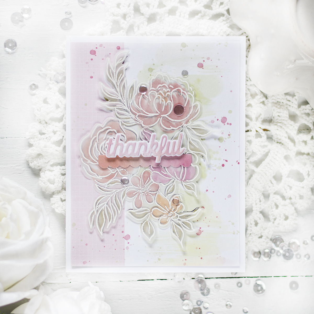 Using Vellum With Patterned Paper. Card by Svitlana Shayevich