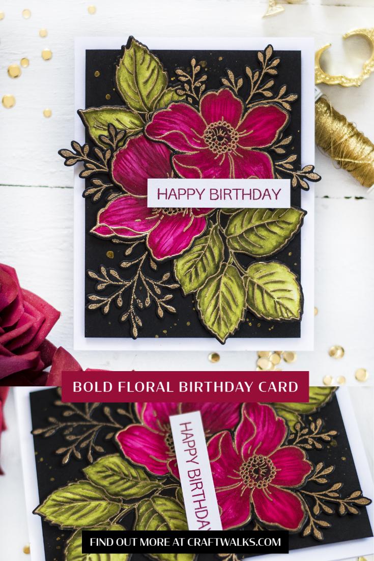 Bold Floral Birthday Card. Card by Svitlana Shayevich