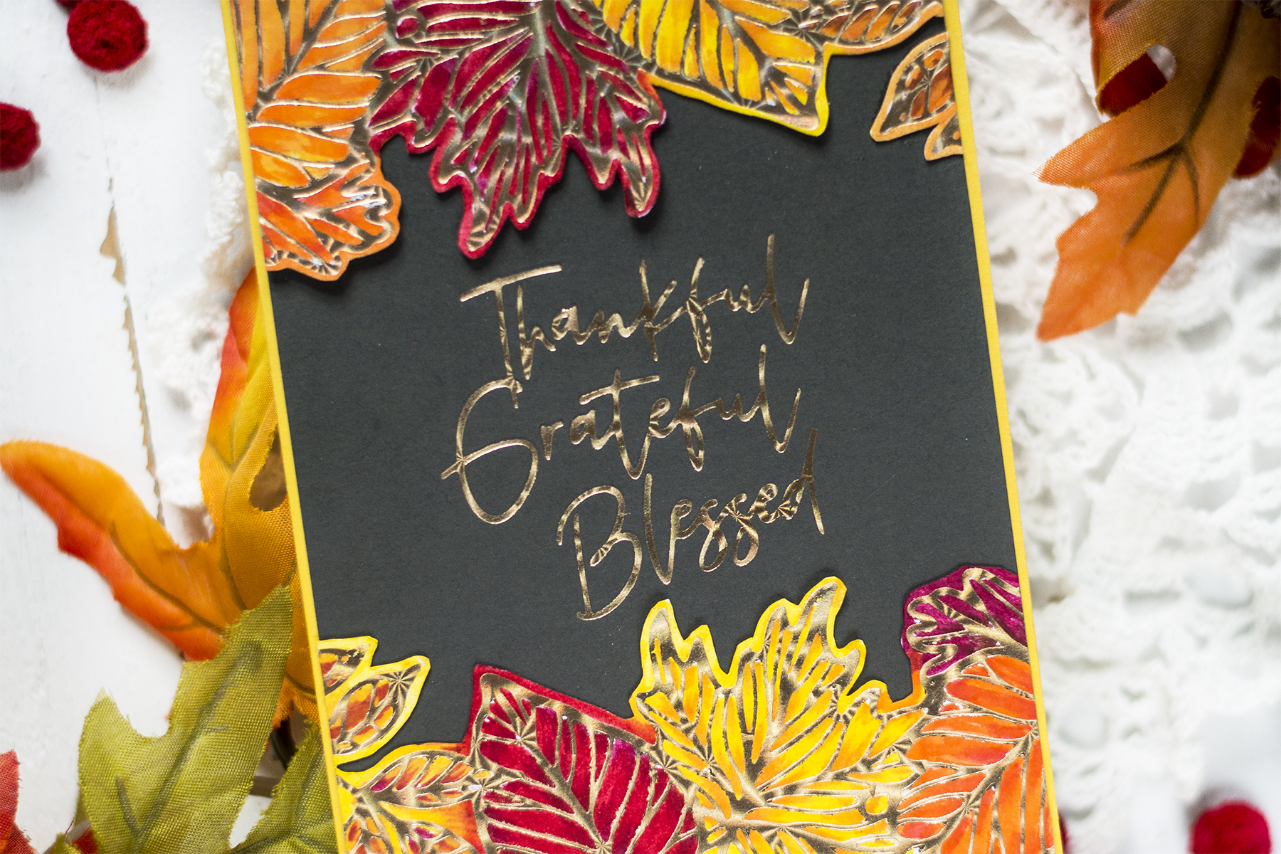 Foiled Fall Leaves Card. Card by Svitlana Shayevich