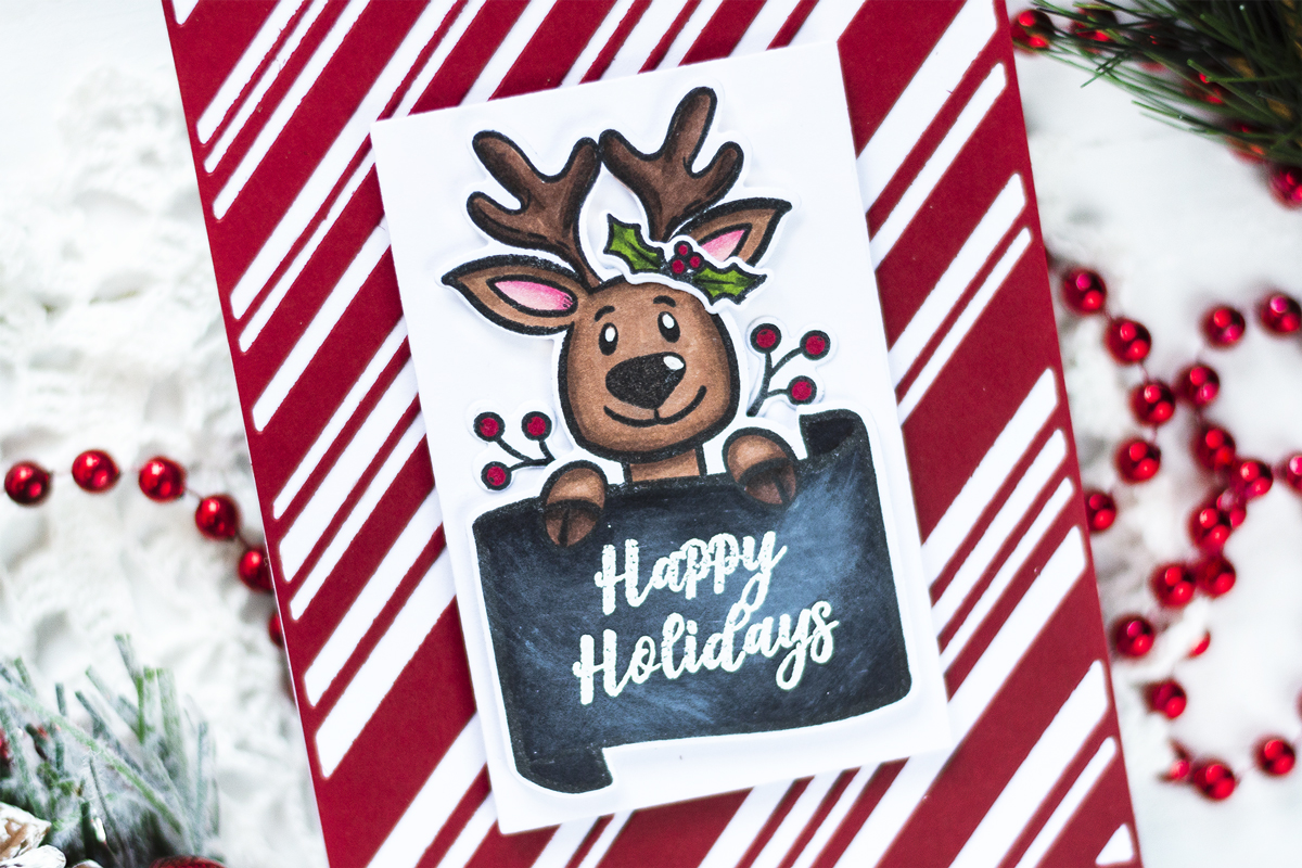 Festive Reindeer Christmas Card. Cards by Svitlana Shayevich