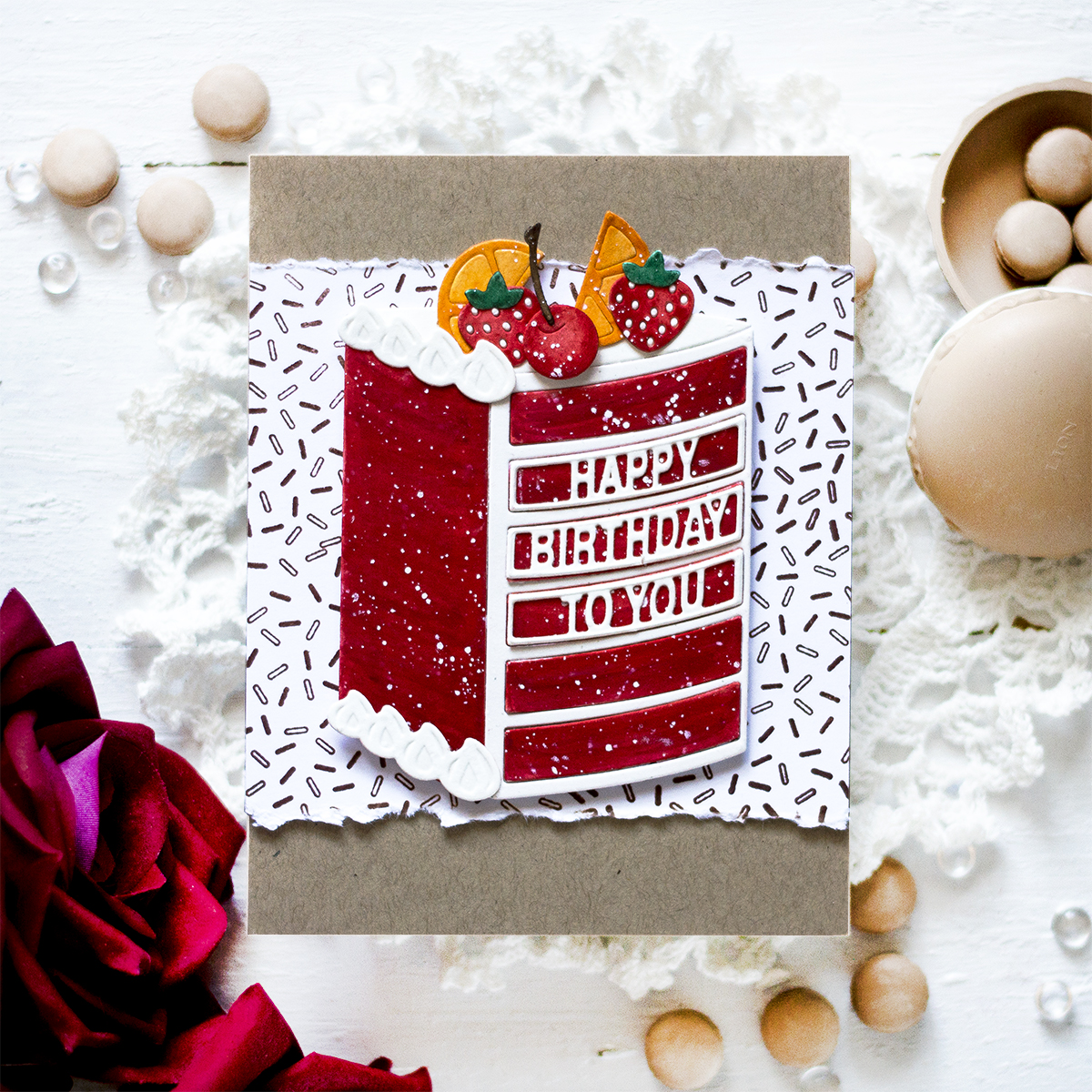 Die Cut Watercolor Cake. Card by Svitlana Shayevich