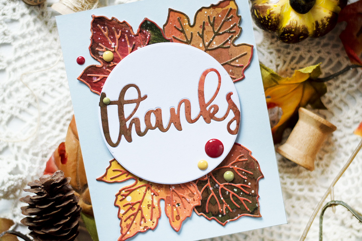 Die Cut Fall Leaves Card. Cards by Svitlana Shayevich