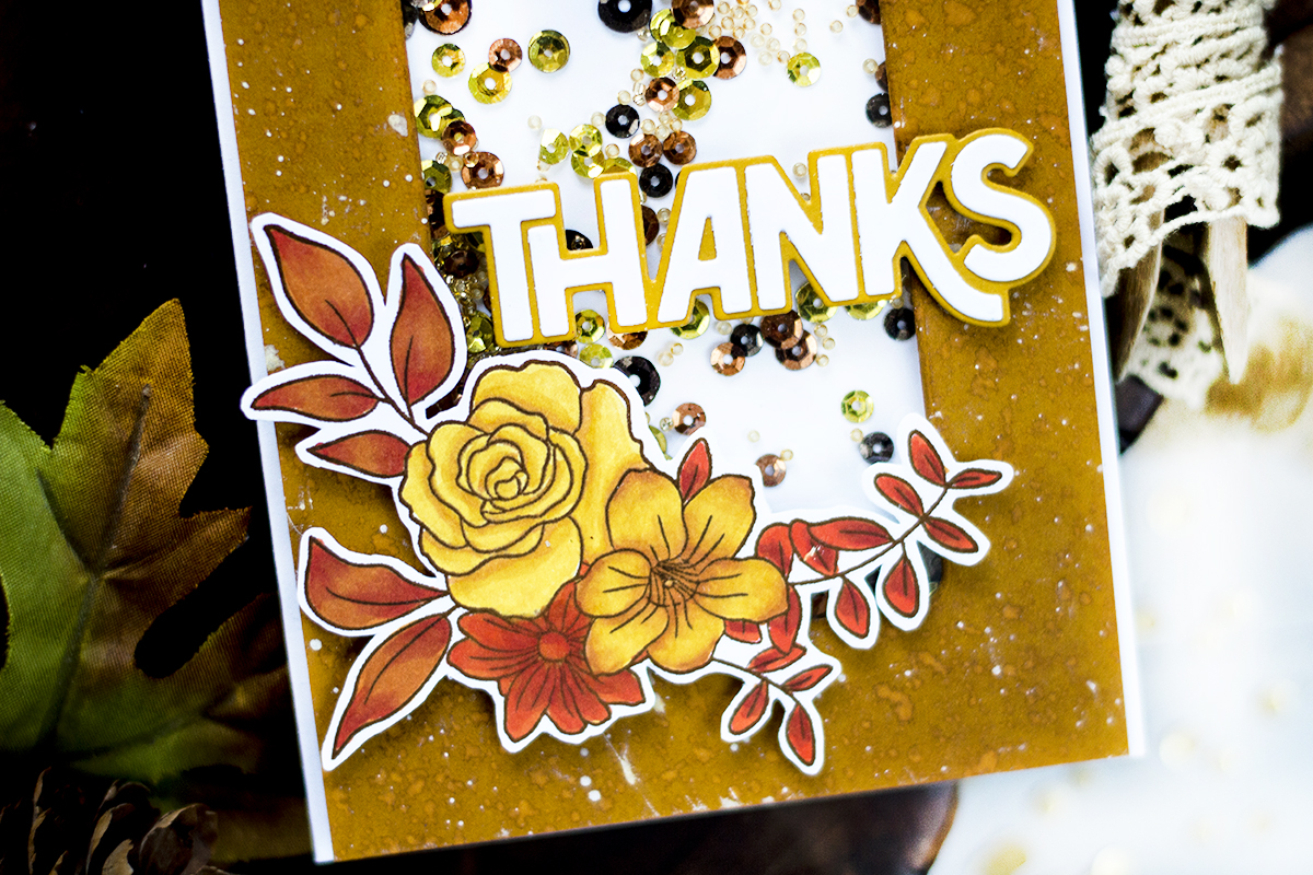 Floral Fall Shaker Card. Cards by Svitlana Shayevich
