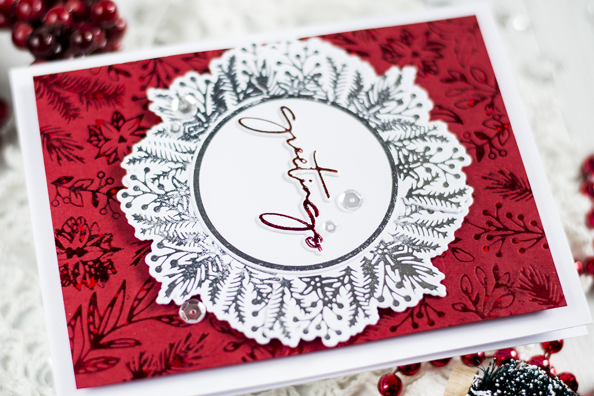 Foiled Wreath Christmas Card. Cards by Svitlana Shayevich