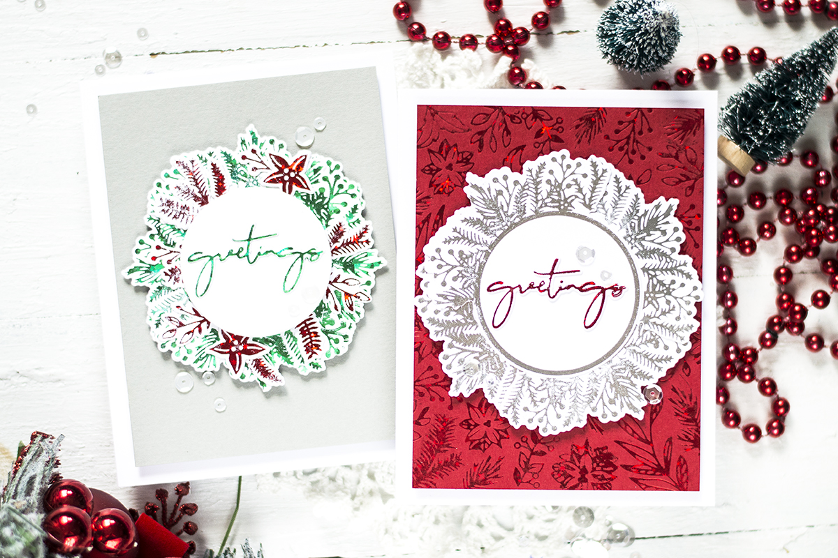 Foiled Wreath Christmas Cards. Cards by Svitlana Shayevich