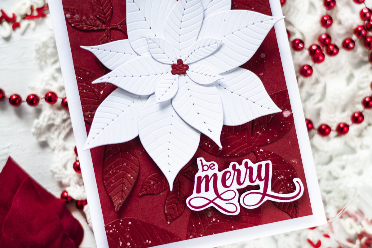 Die Cut Poinsettia Background. Cards by Svitlana Shayevich