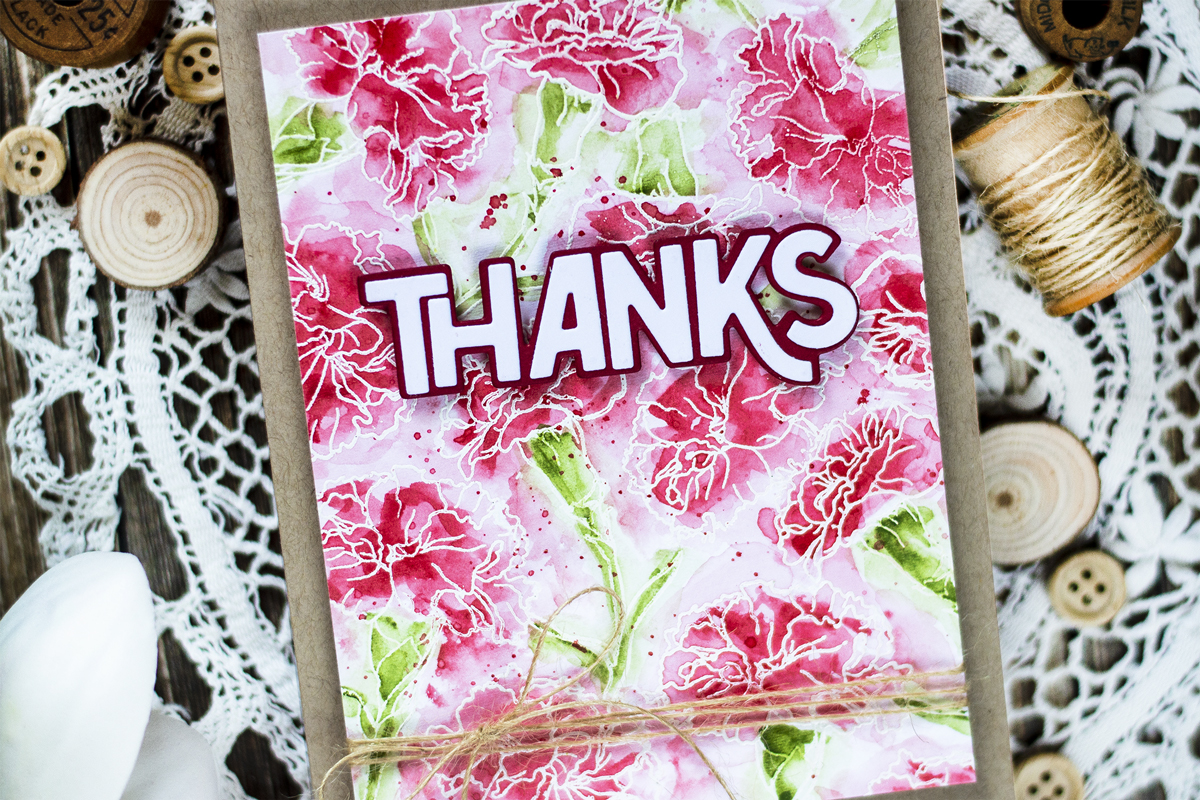 Messy Watercolored Carnations Background. Card by Svitlana Shayevich