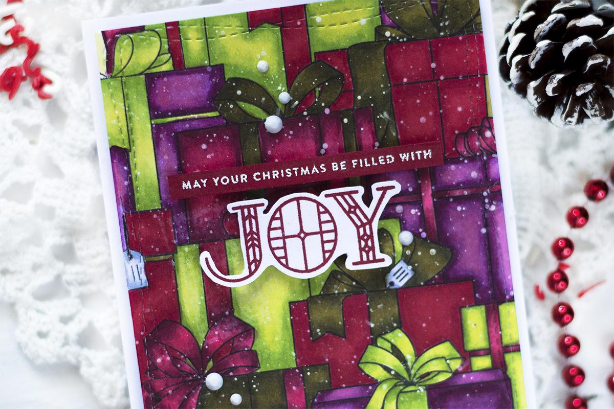 Bold Christmas Presents Background. Card by Svitlana Shayevich